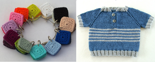 Crocheted swatches,knit baby sweater