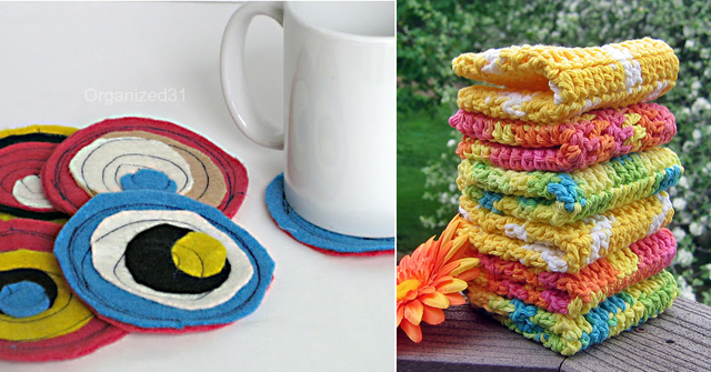 Felt coasters, crocheted dishtowels