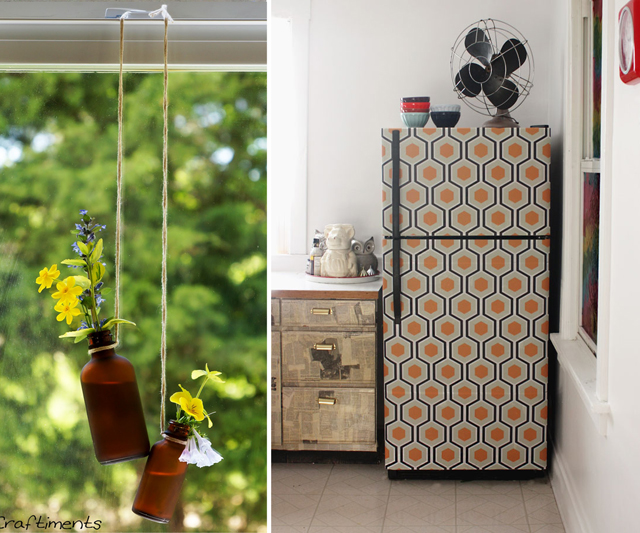 Wallpapered fridge,window vases from little bottles