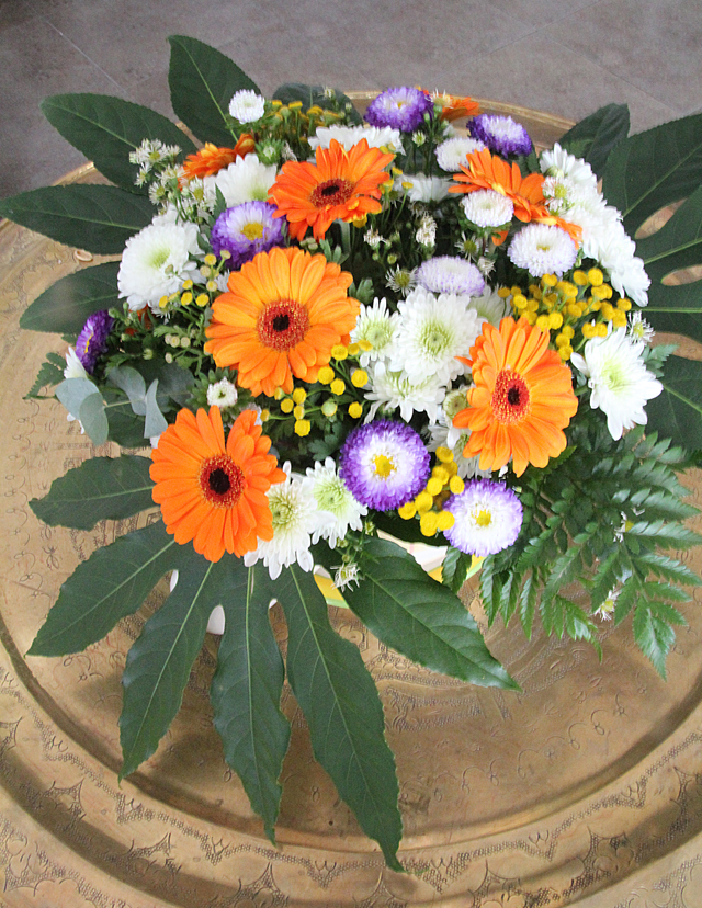 Low Flower Arrangement in Plant Container