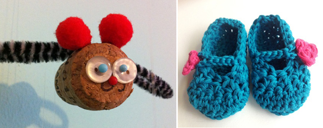 Champagne cork owl,crocheted booties