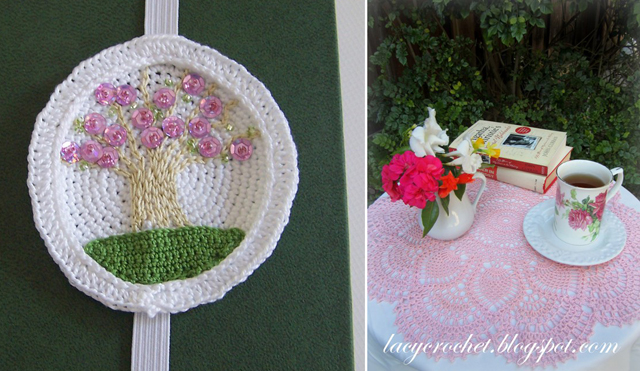 Crocheted pink pineapple doily,book marker tree medallion