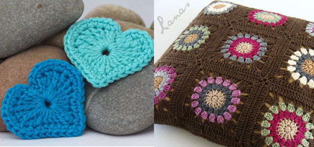 Crocheted hearts,crocheted pillow