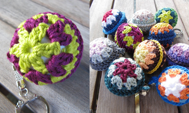 Crocheted ball key chain