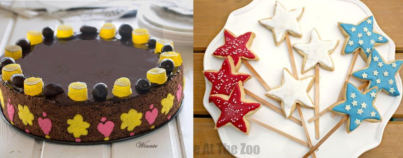 Heart flower edged cake, star cookies