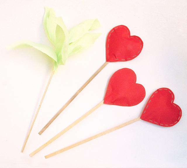 Hearts Stuffed on sticks