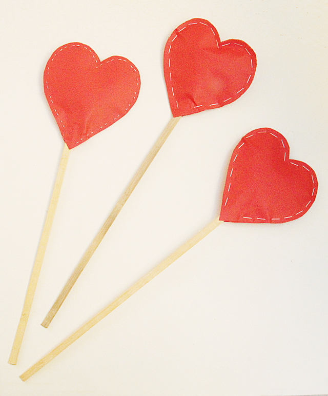 Paper Hearts, stuffed on a stick