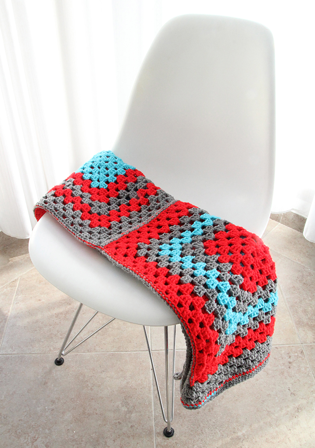 Crocheted Granny Giant Squares Baby Blanket