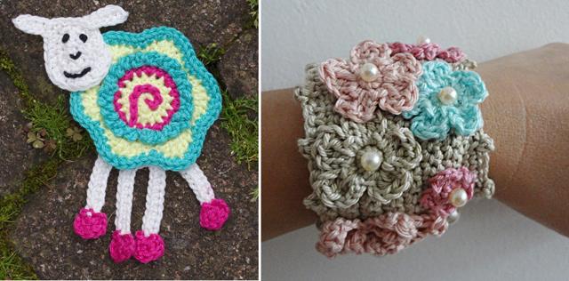 Crocheted lamb, flower wristlet