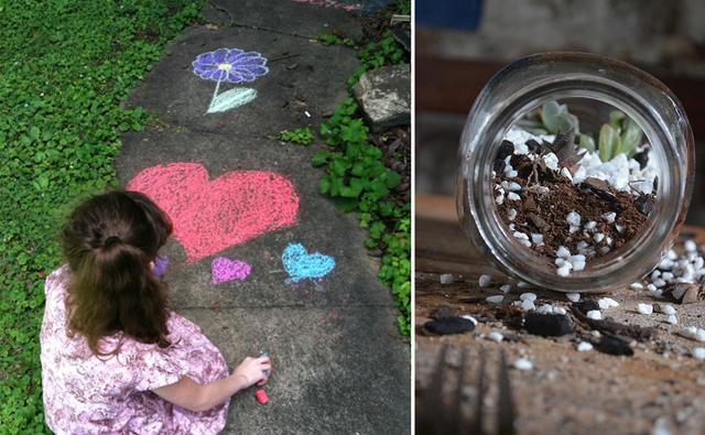 Sidewalk chalk, terrarium for kids