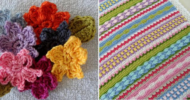 Crocheted flowers, striped crochet blanket