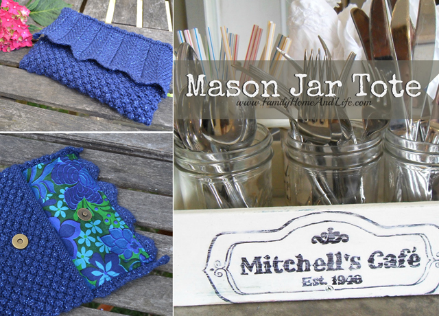 Knit clutch,mason jar tote