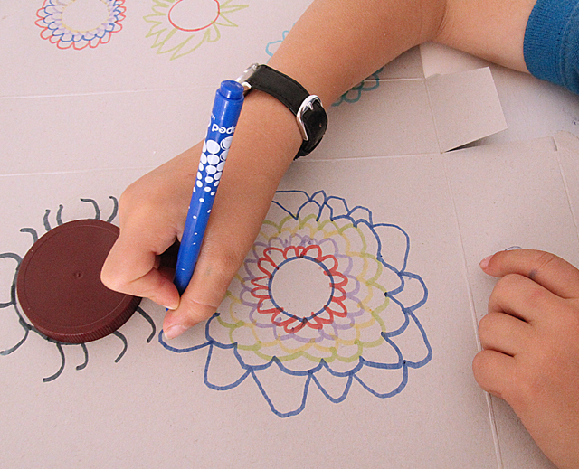 Kid's simple drawing flowers