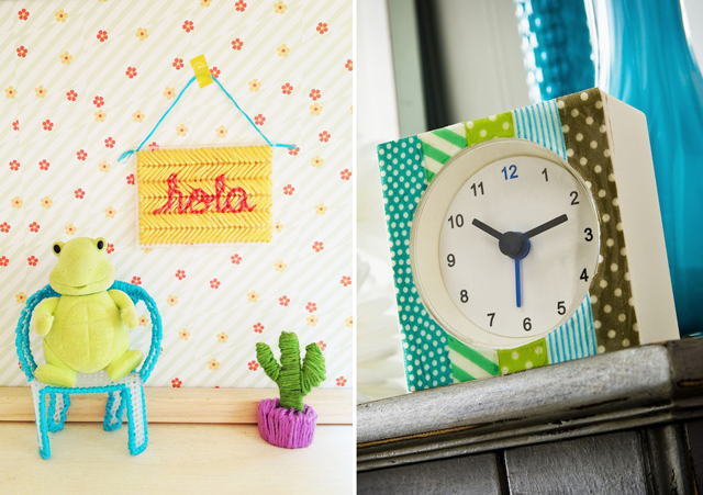 Plastic canvas dollhouse furniture,washi covered clock