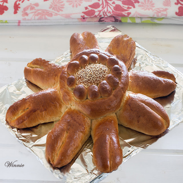Challah flower shaped for shavuot