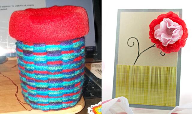 Woven basket paper flower card 6