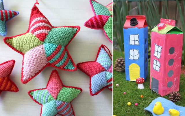 Crocheted stars,milk carton fairy houses