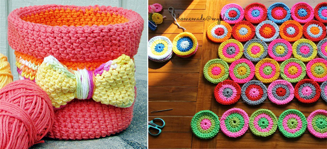 Crochet Basket with Bow