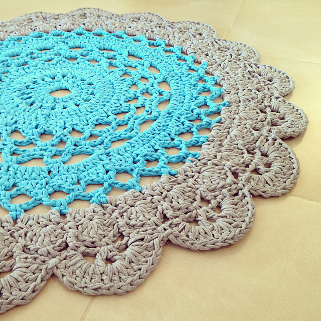 Crocheted giant doily rug 2 colors
