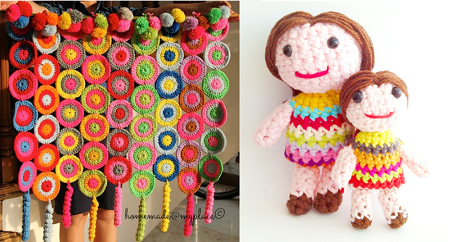 Crocheted little dolls,circles wall hanging