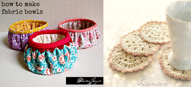 Fabric bowls, crocheted coasters