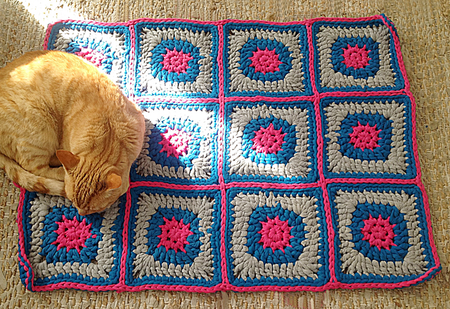 Crocheted T-Shirt Yarn Granny Rug 12 squares colors