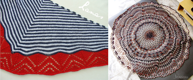 Knit shawl,crocheted mandala shawl