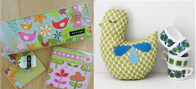Stuffed bird pillow, decoupaged pencil case