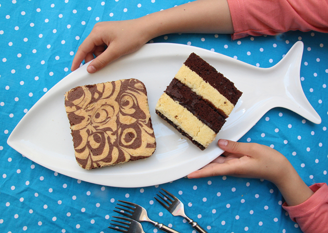 Baking With Kids- Marble cake on fish platter