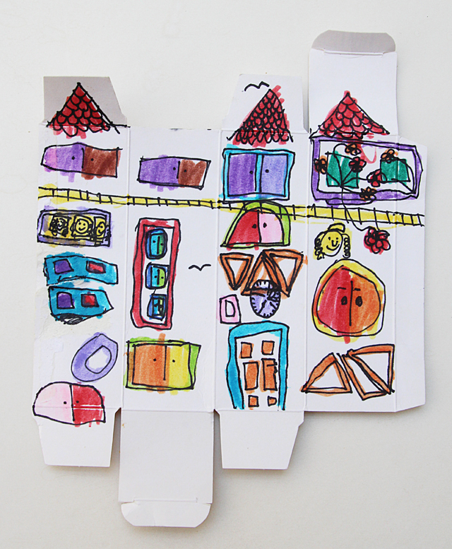 Drawing exercise, drawing buildings on little boxes
