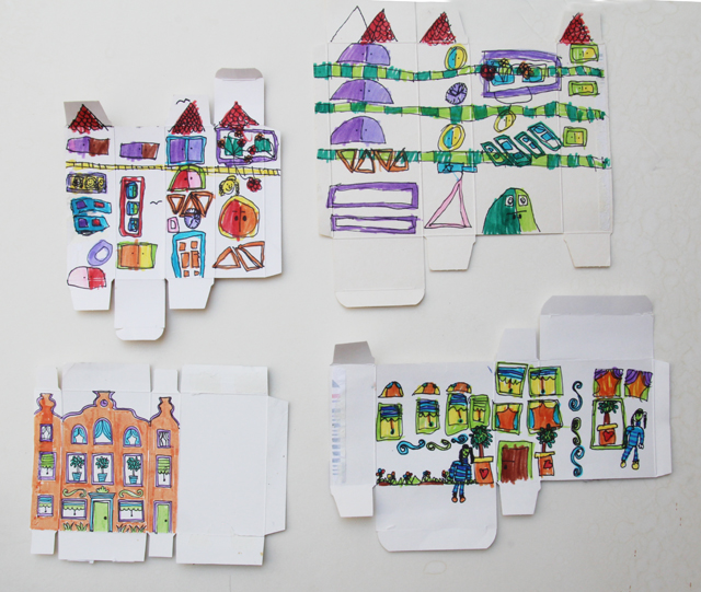 Drawing exercise little buildings on boxes