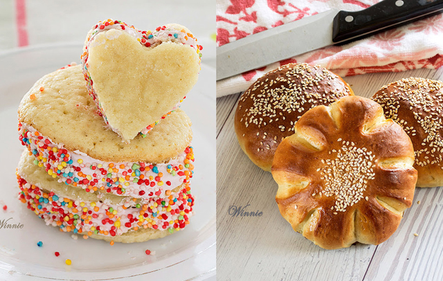 Semolina rolls, heart shaped whoopie pies