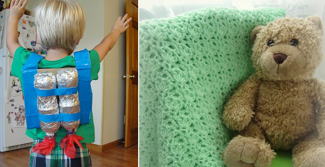 Recycled Bottle jet pack craft,crocheted baby blanket