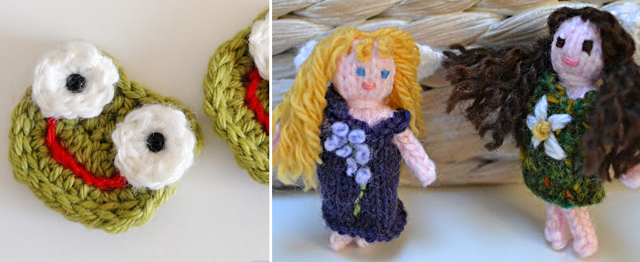 Crocheted frog applique,knit fairies