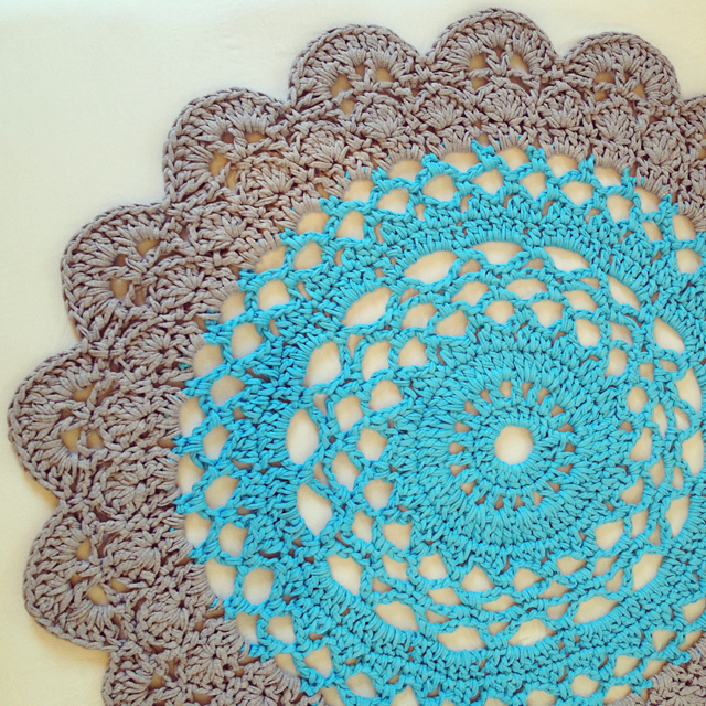 Crocheted Giant Doily Rug In Two Colors And Pattern