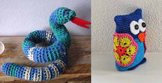 Crocheted owl and crocheted snake