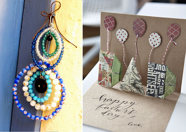 Evil eye beads,origami dad card