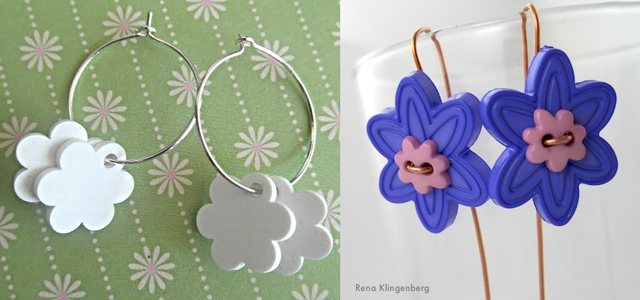 Handmade flower earings,buttons, shrink plastic