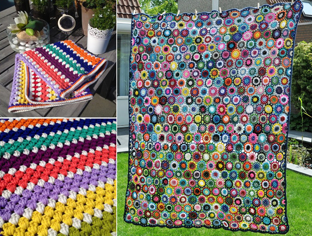 Crocheted granny blanket,crocheted flower blanket