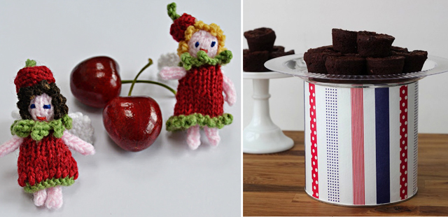 Washi tape cake stand,knit fairies
