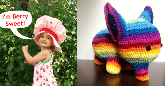 Crocheted elephant,strawberry shortcake hat