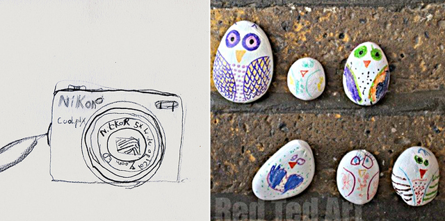 Drawing exercise for kids,owl stones