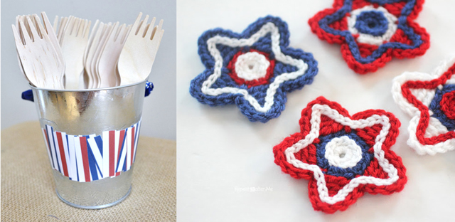 Crocheted stars,picnic utensil holder