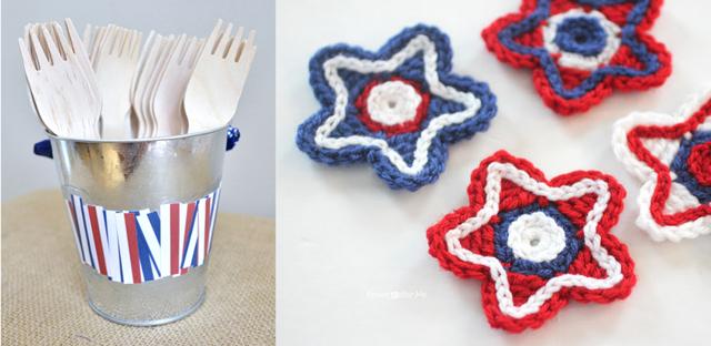 Crocheted stars,picnic utensil holder