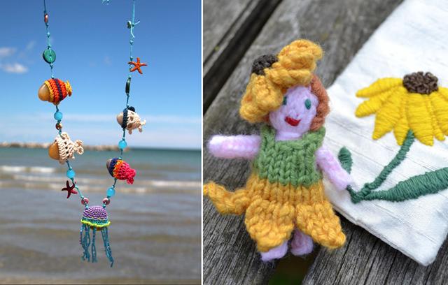 Crocheted Sea Necklace,knit fairie