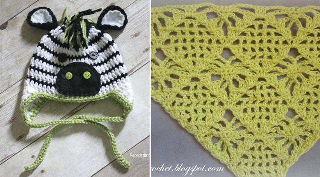 Zebra hat crocheted, spider crochet stitch