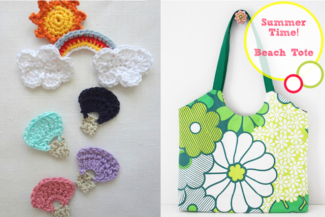 Summer tote,crocheted hot air balloon