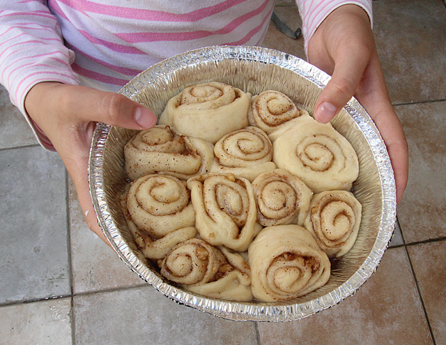 Baking With Kids Cinnamon Rolls Before Baking