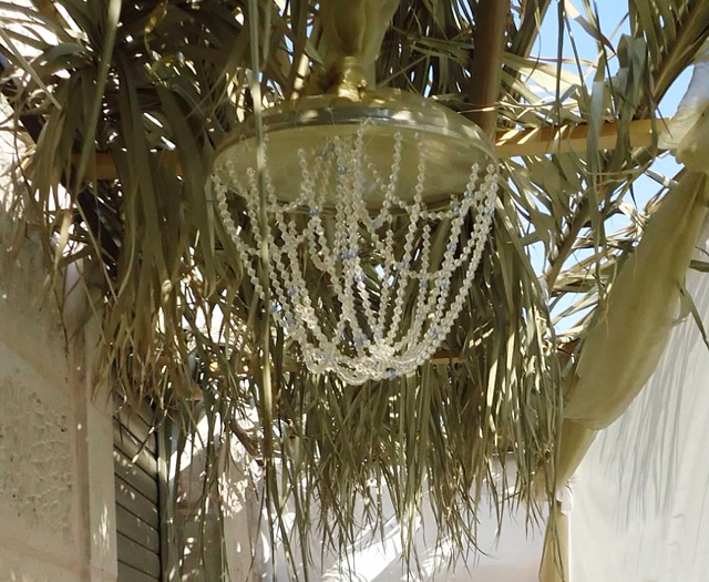 Succah Decor, beaded chandelier 2