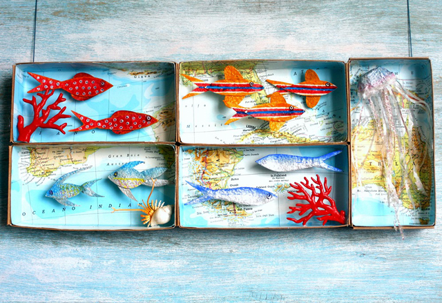 Egg Carton Fish In Map Boxes